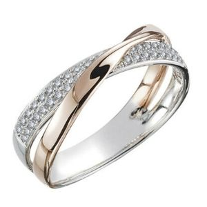 Two tone 925 rose gold white sapphire ring